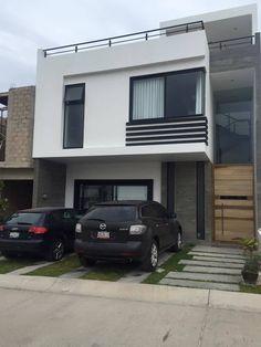 VALLE IMPERIAL: Casas de estilo moderno por Arki3d Minimalist House Design, Minimalist Home, Bungalow Haus Design, Townhouse Designs, Duplex House Plans, Indian Living Rooms, Modern Style Homes, House Front Design, House Elevation