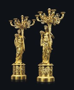 A pair of Chharles X ormolu seven-light candelabra, circa Candlesticks, Candle Sconces, Wall Lights, Bronze, Pairs, French, Handmade, Animals, Decor