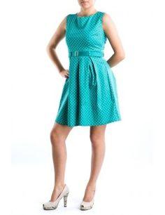 Rochie verde cu buline si fusta plisata