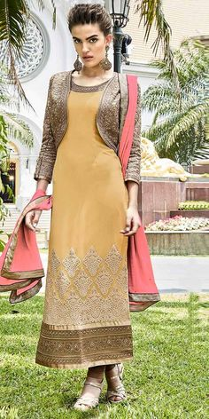 Victorious Beige Georgette Designer Straight Salwar Suit With Dupatta.