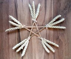 Items similar to Lammas Lughnasadh Wheat & Wicca Altar / Wall Pentagram. Protection and Abundance. on Etsy Corn Dolly, Pagan Festivals, Wiccan Crafts, Paisley, Sabbats, Pentacle, Book Of Shadows, Holiday Crafts, Kids Crafts