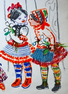 Look at those beautiful colours!! Adorable! From an old hungarian story book.