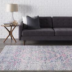 Haute-Hali Persian Distressed Pink/Blue Rug (7'10 x 10'3)