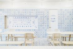 restaurant design concept, blue and white interior, wall pattern idea, wall…