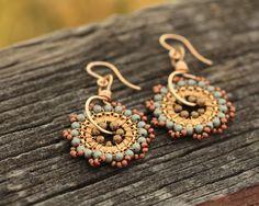 SALE - Bloom Earrings - Brown Sugar - Jewelry, Earrings, Drop, Beadwork, Dangle, Handmade. $56.00, via Etsy.
