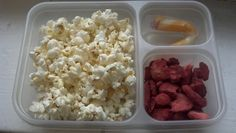 Light Popcorn, Freeze Dried Strawberries, and a light String Cheese! A nommy (yummy), healthy, and really easy snack to enjoy in your dorm or office    DormRoomHealthy!