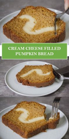 CREAM CHEESE FILLED PUMPKIN BREAD #yummy #food Sweet Recipes, Easy Recipes, Keto Reciepes, Easy Meals For Two, Good Food, Yummy Food, Cream Cheese Filling, My Best Recipe, Pumpkin Bread
