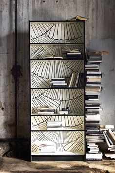 Inspired by open book pages, IKEA is introducing their Billy bookcase in a limit. - Ikea DIY - The best IKEA hacks all in one place Wallpaper Bookshelf, Diy Wallpaper, Wallpaper Furniture, Bedroom Wallpaper, Beautiful Wallpaper, Billi Regal, Painted Furniture, Diy Furniture, Apartment Furniture