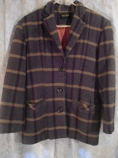 Size XL Wool Plaid Blazer Green Yellow and Red 80's 90's Style Jacket Coat Clothing Padded Shoulders by LandofBridget