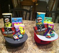 Easter baskets for older kids. Snap backs loaded up!