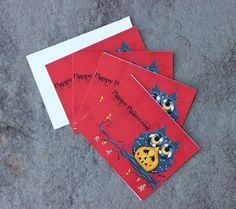 Set of 4 Halloween Owl Greeting Cards  Holiday Cards by concettasdesigns, $12.00 #halloween #owlcards #halloweencards