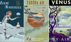 The lyrics of Frank Sinatra's famous tune have been brought to life in a set of futuristic designs promoting holidays in far-flung destinations. The out-of-this-world trips include skiing on Pluto, a blimp tour of Venus and solar-powered car racing on Mercury.