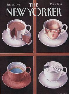 The New Yorker - Monday, January 1993 - Issue # 3543 - Vol. 68 - N° 47 - Cover by Gürbüz Doğan Ekşioğlu The New Yorker, New Yorker Covers, I Love Coffee, Coffee Shop, Coffee Talk, Coffee Break, Coffee Artwork, Vintage Advertisements, Cover Art
