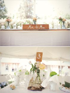 Creative idea. The heaviness of the wood planks ground the white linens and the delicateness of the glass jars and flowers. We are really loving the idea of blending rustic and garden romance.