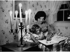 Jacqueline Kennedy Reading Book to Her Daughter Caroline In Family's summer home.
