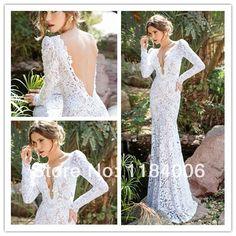 Sexy Mermaid V-Neck cap sleeve Wedding Dresses 2014  New Arrival XK-026 $203.99