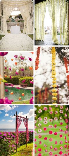flower garland wedding ceremony Dressing Up Your Ceremony with a Floral Curtain