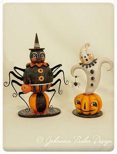 Johanna Parker Design: Spider and Ghost Halloween Designs, Retro Halloween, Vintage Halloween Crafts, Primitive Halloween Decor, Polymer Clay Halloween, Halloween Doll, Easy Halloween, Beistle Halloween, Halloween Books