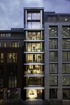 Built by Squire and Partners in London, United Kingdom with date Images by Gareth Gardner. Squire and Partners has completed a slender apartment building on London's Hanover Street, featuring full height besp. Baroque Architecture, Facade Architecture, Residential Architecture, Amazing Architecture, Contemporary Architecture, Minimalist Architecture, Landscape Architecture, Apartment View, London Apartment