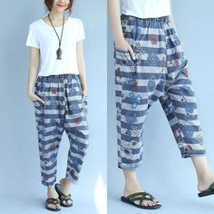 Floral Printing Loose Women Casual Cotton Retro Blue Pants