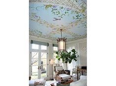 We love this ceiling! #painting #design #birds #flowers #decor