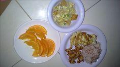Menu sahur hari ke 9 Nasi beras merah, cumi goreng tepung, telur dadar, dan tumis kecambah kedelai telur puyuh