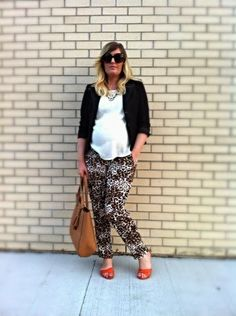 Hot Mama Mantra | Liv.vie In Love Black blazer, ivory tank, leopard print drawstring pants, orange sandals, statement necklace, a tan tote, and oversized sunglasses Maternity style, maternity fashion, pregnancy style, pregnancy fashion, baby bump style, baby bump, 31 weeks, ootd, wiwt, blogger, fashion stylist Pregnancy Style, Pregnancy Fashion, Pregnancy Humor, Maternity Style, Maternity Fashion, Orange Sandals, Baby Bump Style, Drawstring Pants, Oversized Sunglasses