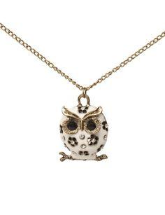 Lovers2009 White Retro Cute Pierced Enamel Owl Long Necklace