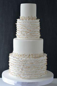 "Round Wedding Cakes - 4""/6""/8""/10"" white on white, ruffles with gold trim, white/ivory/blush/gold dragees"