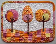 Trees Mug Rug | by Laurraine at Patchwork Pottery. Such a beautiful mug rug made for a scraps challenge.