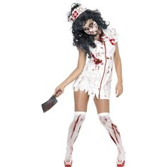 Zombie Nurse Costume, White and Red, with Dress, Mask and Headpiece. A great gory costume for scaring on Halloween! Complete your look with some zombie style face painting and our bloody stocking from the hosiery collection! Scary Halloween Costumes, Halloween Fancy Dress, Adult Costumes, Costumes For Women, Halloween Zombie, Mummy Costumes, Women Halloween, Adult Halloween, Halloween Horror