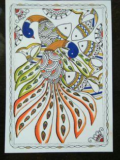 Peacock & fish, madhubani inspired