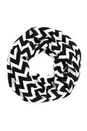 "This black and white chevron scarf is a continuous loop style measuring 9"" W x 72"" around. Wear this printed chevron scarf for an added flair to any outfit. Scarf can be monogrammed, price does not include personalization."