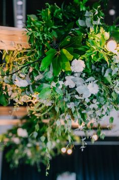 Love the white weaved into the green hanging bouquets. Wedding Receptions, Event Styling, Lush, Bouquets, Centre, Marriage, Herbs, Green, Plants
