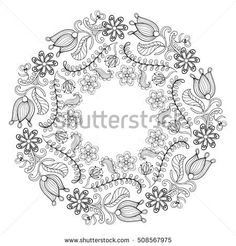 Zentangle stylized floral wreath. Freehand boho sketch for adult anti stress coloring page with doodle ethnic elements. Ornamental artistic  illustration for romantic tattoo, t-shirt print.