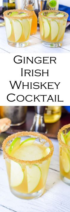Irish Whiskey Cocktail Recipe w. @izzeofficial Sparkling Apple, Fresh Ginger, + Honey - Easy St. Patrick's Day Cocktail w. Gold Rimmed Glasses and Green Apple! #friendsday