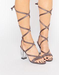 17450600b80 Image 1 of Public Desire Bianca Gray Wrap Tie Clear Heel Sandal Grey Sandals