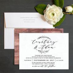 Simple Rustic Wedding Invitations by Emily Buford | Elli