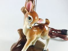 Vintage Deer Lamp With Shade Retro Fawn And Tree Mid Century Kitsch Bambi Light Nursery Kid's Room Decor Kitschy Ceramic Figurine - pinned by pin4etsy.com
