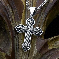 Fan End - Sterling Silver Contemporary Christian Cross Necklace Pendant David Daffer Designs Sterling Silver Cross, Sterling Silver Jewelry, Rope Chain, Pendants, Christian, Pendant Necklace, Fan, Detail, David