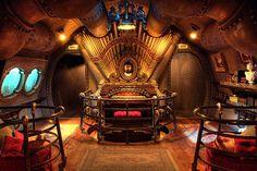 Nautilus - Captain Nemo's pad in Nautilus - EuroDisney. Good old Jules Verne, none more Steampunk Steampunk Interior, Steampunk House, Steampunk Design, Steampunk Guitar, Jules Verne, Parc Disneyland Paris, Disneyland Resort, Nautilus Submarine, Leagues Under The Sea