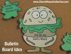 """Church House Collection Blog: Hamburger Printable Cutout Template For Sunday School Kids- With and Without Words """"Fill Up On God's Word"""" Craft Or Bulletin Board Idea. """"Lettuce Us Pray And Not Romaine Silent"""" #Sunday #school #crafts #hamburger #prayer #bulletin #board"""