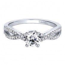 14k White Gold 0.14ct Diamond Gabriel & Co Criss Cross Semi Mount Engagement…