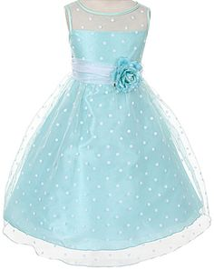 Beautiful tea-length mint and white polka dots organza dress with removable 3-D flower pin and organza sash that ties on the back in a bow (girls sz.2-12) - so fresh and sweet! ~ flower girls, special occasion, graduation ~ Made in the USA ~ Color Me Happy Boutique