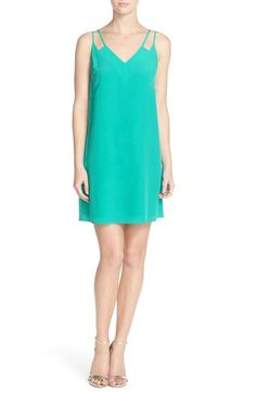 CeCe 'Sweeney' Crêpe de Chine Slipdress (Regular & Petite) at Nordstrom.com. Two skinny straps suspend a light and breezy V-neck dress crafted from silky crêpe de Chine and cut short to show off your legs.