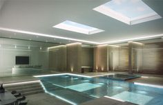 Computer generated image of a basement swimming pool - Charles Roberts Studios : Charles Roberts Studios Luxury Swimming Pools, Dream Pools, Swimming Pool Designs, Basement Pool, Basement House, Indoor Pools, Underground Swimming Pool, Piscina Spa, Piscina Interior