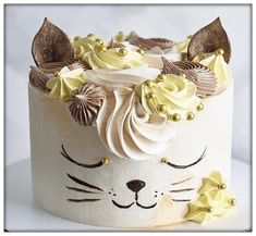 Birthday Cake For Cat, Cool Birthday Cakes, Cake Decorating Videos, Cake Decorating Techniques, Cupcake Cake Designs, Cupcake Cakes, Cake & Co, Cake Art, Fondant Cat