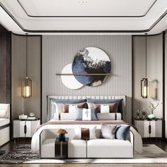 新中式卧室 Bed Headboard Design, Bedroom Furniture Design, Modern Bedroom Design, Home Room Design, Master Bedroom Design, Home Interior Design, Living Room Designs, Modern Luxury Bedroom, Master Bedroom Interior