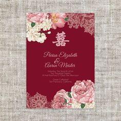 DIY Printable/Editable Chinese Wedding Invitation Card by ImLeaf
