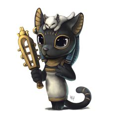 Bastet, Egyptian cat goddess. Art by: http://silverfox5213.deviantart.com/